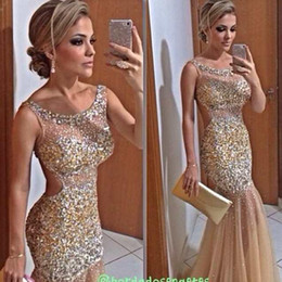 Wholesale Celebrities Black Sequin Dresses - Bling Gold Mermaid Evening Dresses Sheer Neck Crystal Beaded Tulle Floor Length Backless Celebrity Dresses Sexy Prom Dresses