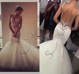 Wholesale Highest Quality Trumpet Wedding Dress - Custom Made 2015 New Arrival Mermaid Backless Crystal Fashion Wedding Dresses Bridal Gown With High Quality Lace