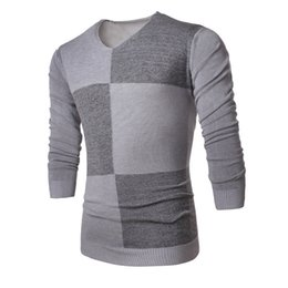 Wholesale Aw White - Wholesale-Men's Color Block Winter Sweater Long Sleeve V-neck Pullovers for Men AW-CYBB-7708
