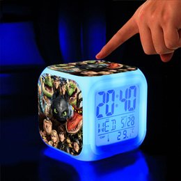 Wholesale Electronic Calendar Alarm - How To Train Your Dragon Alarm Clock Cartoon Game Action Figure Night Glowing Digital Clock Calendar Thermometer Electronic Toys Gifts SK358