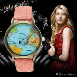 Wholesale Purple Map - Hot Sytle Cow Canvas Watches Digital Map Plane Pointer Watches men's and women's personality hand Retail Sale