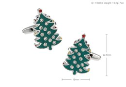 Wholesale Christmas Tree Cufflinks - High Quality New Classic Silver Copper Mens Wedding Cufflinks Novelty Rare Fancy Christmas Tree & Clean Cloth 190065