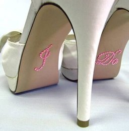 Wholesale Wholesale Cheap Wedding Shoes - I Do Blue Pink Clear Bridal Groom Rhinestone Shoe Decal Sticker Set Appliques Something Creative Wedding Decoration Cheap