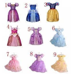 Wholesale Belle Sleeves - 9color Beauty and the beast belle princess dress girl purple rapunzel dress Sleeping beauty princess aurora flare sleeve dress A08