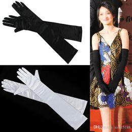 Wholesale Long Black Lace Fingerless Gloves - Elegant In Stock Free Shipping Colorful above elbow length Bridal Gloves Full Finger Opera Length Satin Long Wedding Gloves