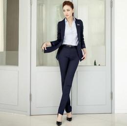 Wholesale Piece Jobs - Women suit professional ladies twinset coat + pants suit pure color formal occasion customized job interview woman suit