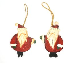 Wholesale Cheap Hanging Decorations - Wholesale-Christmas tree decorations gift 1 pair wood Santa Claus 12.5cm*9cm tree hanging wall door cheap christmas ornament