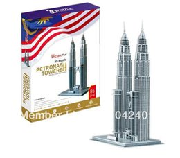 Wholesale Papercraft 3d - Wholesale-Petronas Towers CubicFun 3D educational puzzle Paper & EPS Model Papercraft Home Adornment for christmas birthday gift