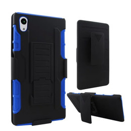 Wholesale One M4 - For Sony Xperia Z5 M4 Aqua HTC One M9 Desire 626 Future Armor 3 in 1 Hybrid Stand Belt Clip Holster Hard PC + Silicone soft case Skin Luxury