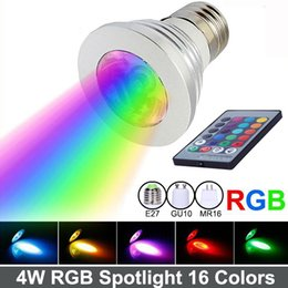 Wholesale Changing 12v Led Bulb - LED RGB Spotlight 16 Color Changing 4W LED RGB Light Bulb Lamp E27 GU10 E14 MR16 GU5.3 with 24 Key Remote Control 85-265V&12V Free shipping