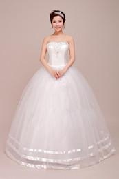 Wholesale Cheap Plus Size Korean Fashion - 2015 New High Waist Wedding Dress Women Korean Style Fashion Bra Strap Romantic Cheap Wedding Dresses CC09151