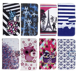 Wholesale Leather Deer Wallet - Owl Wallet Leather Pouch Case For Samsung Galaxy S7 G930 G9300 Huawei Ascend Y560 Wiko Lenny2 Deer Eiffel Tower Flip Stand Cards