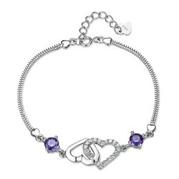 Wholesale Amethyst Heart Jewelry - 925 sterling silver heart-shaped female natural amethyst bracelet Korean version of the big European and American fashion jewelry