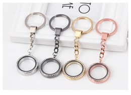 Wholesale Stainless Steel Glass Lockets - Locket Key Chain Key Ring Crystal Keyrings Round Silver Magnet Glass Floating Charms Locket Keychains