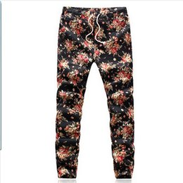Wholesale Flax Pants Xl - Wholesale-New fashion 2015 Flax printing comfortable leisure brand high quality men pants size M - 5 xl casual mens joggers Free Shipping