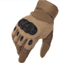 Wholesale Leather Winter Mittens - Tactical Gloves Antiskid Outdoor Full Cover Finger Mittens Winter Thermal Men Fighting Leather Black Male