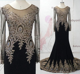 Wholesale Sexy Long Jersey Dresses - 2017 Real Image Mermaid Evening Dresses Gorgeous Sheer Long Sleeve with Crystal Illusion Back Sweep train Red Carpet Gowns BO6958