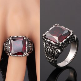 Wholesale Brilliant Steel - Men Fashion Jewelry Gifts Vintage Stainless Steel Brilliant Cut Mysterious Red Crystal Statement Rings Size 7-11