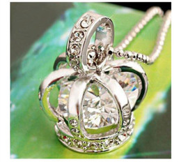 Wholesale Bird Cage Pendant Charm - hot sale Jewelry New silver color bird cage costume crown pendant necklace with crystal zircon free shipping