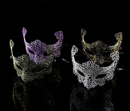 Wholesale Christmas Festive Masks - Sexy women's masquerade ball masks Glittered hollow plastic 4 colors available Fancy festive and party supplies Drop shipping Hot sale