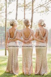 Wholesale Long Glittery Dresses - Sparkly and Glittery Gold Bridesmaid Dresses Crew Floor-length Cape Back Low Back Rose Pink Sequins Bridesmaid Dresses