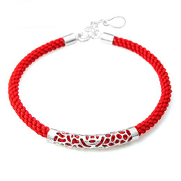 Wholesale Tubular Jewelry - Wholesale-Guarantee 100% Sterling Silver 925 Jewelry Bracelets & Bangles Hollow Out Tubular Silver Bracelet Free Shipping