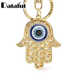 Wholesale Lucky Eye Pendant - Lucky Hamsa Fatima Hand Eyes Keychains Charm Amulet Purse Bag Buckle Pendant For Car Keyrings key chains holder women K236