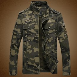 Wholesale Mens Winter Bomber Jackets - Fall-2016 New Mens Camouflage Jacket Good Quality 100% Cotton Male Winter Camo Jacket Bomber Army Military Camouflage Jackets M-3XL
