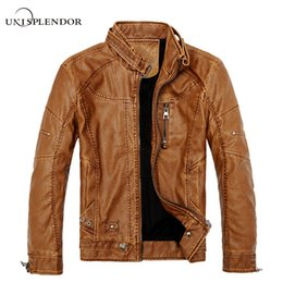 Wholesale Leather Motorcycle Suits - Wholesale- 2017 Man Casual Jacket Winter Autumn Spring Warm Leather Jacket Plus Size New Fashion Motorcycle Suits Cool Jackets Soft YN10083
