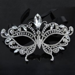 Wholesale Fancy Dress Ball - 2016 Silver Tone Venetian Bridal Masquerade Rhinestone Crystal Eye Mask Halloween Fancy Dress Ball Party Mask