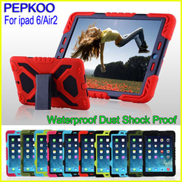 Wholesale Silicone Ipad Stand - For iPad 6 Pepkoo Spider case Military Heavy Duty Waterproof Dust Shock Proof tablet Case Plastic + Silicone Stand for ipad air 2 ipad6