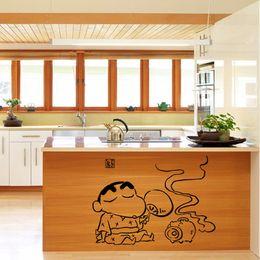 Wholesale Funny Bathroom Decorations - Creative Cartoon Kitchen Art Mural Poster Decor Tile Cabinet Decoration Wall Decal Sticker Fashionable Funny Kitchen Decor Art