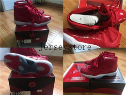 Wholesale Product Men - New Products Men Basketball Shoes 11 UNC Chicago red win like 96 gym red concord with OG Slide box