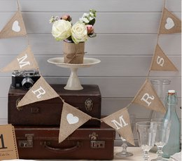 Wholesale Movie Candy Boxes - 500 Sets Lot Vintage Wedding Banner Mr and Mrs Burlap Bunting Decoration Brand New Via Fast Shipping
