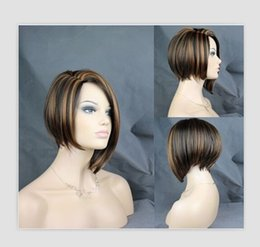 Wholesale Dark Brown Hair Fiber - Rihanna Style Middle Long Straight Brown Mix Color Synthetic Hair Fashion Daily Full Wigs High Temperture Fiber