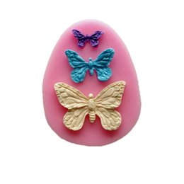 Gâteau cupcakes papillon en Ligne-New Arrival Rushed Rubber Eco-friendly Mold Cupcake Diy Baking Tools Fondant Sugar Cake Bakeware Mold Three Butterfly Mould TY1772