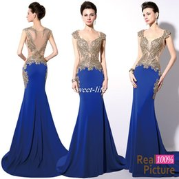 Wholesale Cheap Shiny Party Dresses Short - In Stock Royal Blue Mermaid Prom Dresses Dubai Arabic Dresses Party Evening Wear Gold Shiny Embroidery Crystals Sheer Back Real Images Cheap