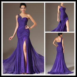Wholesale Elegant Dresses Online - Elegant Purple Long Mermaid Evening Dresses Chiffon One Shoulder Split Formal Women Party Gowns With Crystal Special Occasion Dresses Online