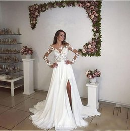 e6a82f24ad4 2017 Cheaper A Line Applique Chiffon Wedding Dresses With Illusion Neck  Long Sleeve Sweep Train Bridal Gown Side Split