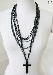 Wholesale Trendy Sweaters For Women - Fashion Trendy Multi-layer Black Long Sweater Chain Cross Pendant Necklace Jewelry For Women Gift Wholesale 12 Pcs