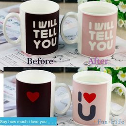 Wholesale I Love Mugs Wholesale - Fun Life Creative Ceremic Mug Cup Color Changing mug cup Great Gift Amazing Love cup I will tell you ,I love you AF949