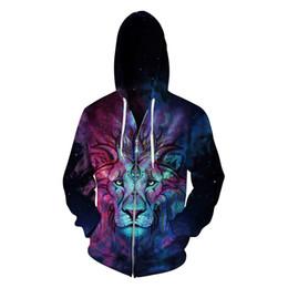 Königsbürsten online-Herbst und Winter Liebhaber Hoodies mit 3D Lion King Print Mode mit Kapuze gebürstetem Mantel Frauen Männer Sweatshirts S-3Xl Größe