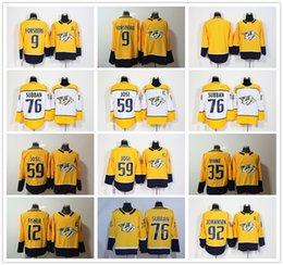 2017-2018 Saison 92 Ryan Johansen 12 Mike Fischer 35 Pekka Rinne 9 Filip  Forsberg 59 Roman Josi Nashville Predators Eishockey Trikots Billig  nashville ... c2c7085ab