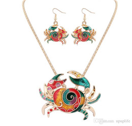 Wholesale wholesale indian earings - Gothic Enamel Crab Jewelry Set Gold Crab Statement Necklace Earings Set For Women