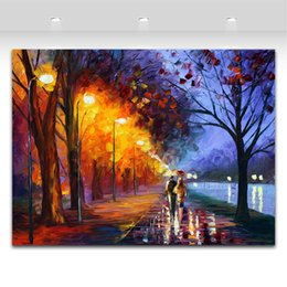 Wholesale Lake Landscapes Paintings - Alley By The Lake & Palette Knife Oil Painting Landscape Style Printed On Canvas Riverside Scenery Works