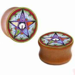Wholesale Star Flesh - Wholesale 8mm-25mm five-pointed star wood plug gauges flesh tunnel saddle ear plugs ear expander WSP005