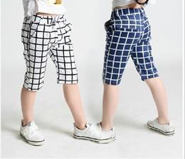 Wholesale Korean Wearing Harem Pants - Children Casual Pants Boy Summer Middle Pants Plaid Pants Beach Pants Casual Trousers Korean Childrens Pants Boys Girls Casual Wear L73