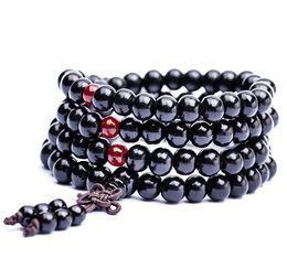 Wholesale Natural Sandalwood Beads - Natural Sandalwood Buddhist Buddha Meditation 108*6mm beads Wood Prayer Bead Mala Bracelet Necklace Women Men jewelry Luck Bracelets