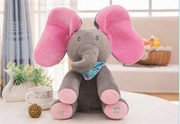 Wholesale Good Day Baby - Baby Elephant Stuffed Animals children Hide and seek Electric music Plush Toys Elephant Soft toys 30cm 12inches good quality B11