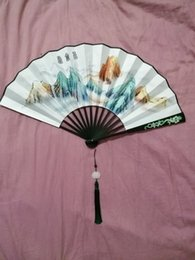 Wholesale Hand Painted Love - To the Sky Kingdom   Eternal Love) China Wood Folding Kunlun Fan Hand Painted Ancient Props Folding Fan